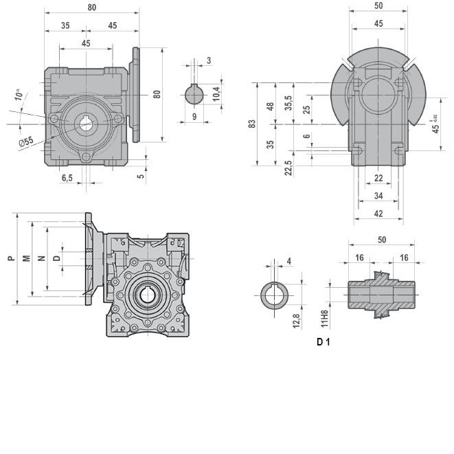 R Ametric NMRV 30 63B14 Motor Input Flange