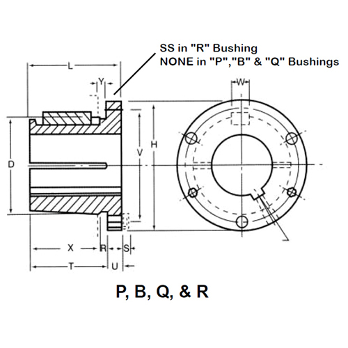 L 348 Torque Lbs, 2-5//16 Inch Bore 1-014 Ametric Q1.2-5//16 Split Taper Bushing V 2.5 Inch Over All Depth 0.5 Inch Width of Keyway 3 X3//8x1 1//4 Inch Cap screw W P 3.375 Inch Bolt Circle 4.125 Inch Flange Diameter H